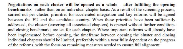 сегментот од методологијата во кој ЕК искажува потреба од ограничување на преговорите за еден кластер на една година